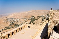 Walls of the crusader fort of Kerak Castle, Kerak, Jordan.