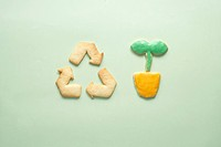 Cookies of recycling symbol and potted plant