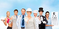 professions and people concept - group of people including cook, doctor, nurse, magician and personal trainer