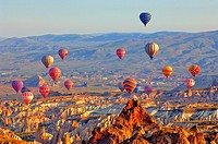 Hot Air Ballons above the Uergip Valley in Cappadocia.