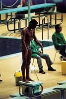 Mark Spitz on the starting blocks of the final 200 metres freestyle. The US swimmer Mark Spitz at the starting blocks of the final 200 metres freestyl...