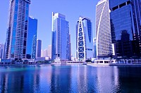 Modern high-rise apartment towers at Jumeirah Lakes Towers JLT at Dubai, UAE.