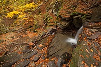 Waterfalls at Hulski stream. Bieszczady Mountains. Poland. Autumn