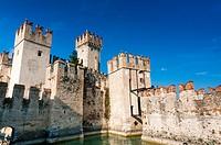 Ramparts of Scaliger Castle (13th century), Sirmione, Lake Garda, Brescia province, Lombardy, Italy.