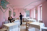 Piazza Duomo restaurant with 3 michelin stars in Alba, Langhe, Cueno, Piedmont, Italy.