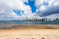 San Diego Bay and the Downtown Skyline. Photographed from Coronado, California, United States.