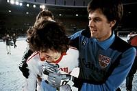 football, Bundesliga, 1981/1982, Rhine Stadium, Fortuna Duesseldorf versus VfB Stuttgart 2:3, end of the game, leaving, Didier Six (Stuttgart) left an...