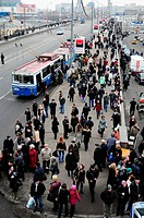Moscow, russia, march 29, 2010, crowds of passengers await surface transport vehicles on krymsky bridge next to park kultury station after two blasts ...