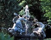 D-Hohen Demzin, Mecklenburgische Schweiz, Mecklenburger Seenplatte, Mecklenburg-Vorpommern, Burg Schlitz, Schlosspark, Nymphenbrunnen, Springbrunnen, ...
