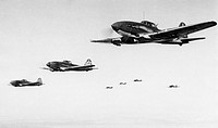 A squadron of soviet ilyushin 2 stormovik bombers in flight, world war 2.