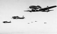 A squadron of soviet ilyushin 2 stormovik bombers in flight, world war 2.