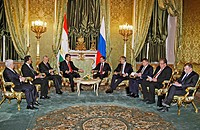 Tajikistan's President Emomali Rakhmon and Russian president Dmitry Medvedev, Russian Foreign Minister Sergei Lavrov, Russia's defence minister Anatol...