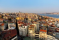 Turkey, Istanbul. Beyoglu, Bosphorus, Cityscape, View from Galata-Tower
