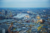 View of the city of London and River Thames; London, England