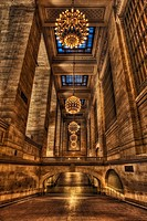 New York City´s Grand Central Terminal. This is one of the halls at the terminal with beautiful luxurious big melon-shaped chandeliers made out of rea...