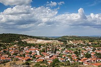 Greece, East Macedonia and Thrace Region, Likofos, elevated village view near Soufli.
