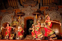 """Dance called """"""""Legong Dance"""""""" at the Palace of Ubud. Ubud-Bali. Traditional balinese dance in Ubud. There are many Balinese dance performances to see ..."""