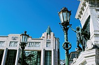 Facade of the art deco Eden building built in the 1930´s, a former theatre and cinema now a hotel. The statue represents the spirit of independence an...