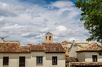 View of a houses in the Chinchon village, Madrid province, Spain.