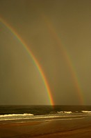 rainbow at the North Sea, Germany, Schleswig-Holstein, Sylt, Rantum
