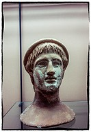 Ancient head statue in Capua museum, Italy.