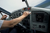 Cockpit and pilot of Otter floatplane, Prince Rupert, British Columbia.