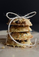 Sultana and oat cookies, homemade and tied ith string.