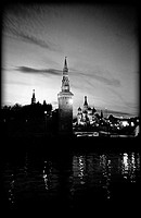 Kremlin and St. Basil´s Cathedral at night seen across Moskva River, Moscow.