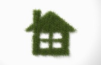 a house shape made out of grass