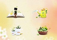 a set of pictures of flowers in daily items