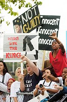 Fans at court appearance for Michael Jackson trial for child molestation, Santa Barbara County Courthouse, Santa Maria, CA, June 2, 2005. Photo by: Mi...