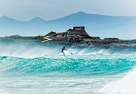 Stand up paddle surf. Tarifa, Cadiz, Andalusia, Spain, Europe.