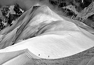 Mont Blanc mountan range, two climbers together, France.