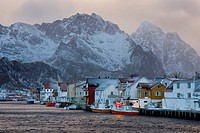 Henningsvaer village. Lofoten islands. Norway.