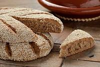 Fresh baked Moroccan semolina bread.