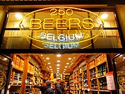 Popular beer shop near La Grand Place. Brussels, Belgium, Europe.
