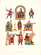 King on throne, man with lance and sword, woman playing lute, man playing zither, etc., from an illuminated psalter on parchment in Stuttgart library,...