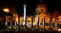 The ancient Roman Forum at night.