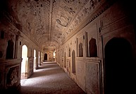 Lakshmi Narayan Temple ceiling painitnigs. Orchha Madhya Pradesh, India