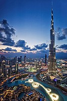 View from above of the Burj Khalifa (Armani Hotel) designed by Skidmore Owings and Merrill , the Souk Al Bahar and the Dubai Fountains at twilight, Bu...