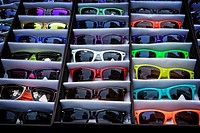 Colorful Sunglasses Dispalyed in Rows, on a New York City Street Vendor's Stand.
