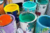 Detroit, Michigan - Paint cans on a table as volunteers paint a mural on the entrance to Cody High School during a week-long community improvement ini...