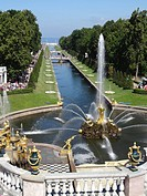 Peterhof Palace Sea Channel Grand Cascade Sampson Fountain-St. Petersburg, Russia