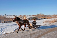 A Horse Sleigh Ride In Solonovka Settlement