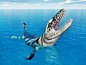 Computergenerierte 3D Illustration mit dem prähistorischen Krokodil Dakosaurus