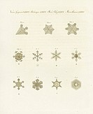 Snowflake crystals under the microscope. Handcoloured copperplate engraving from Bertuch's Bilderbuch fur Kinder (Picture Book for Children), Weimar, ...