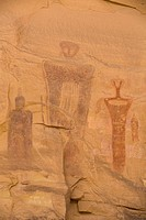 Sego Canyon Rock Art Panal, Barrier Canyon style pictographs, near Thompson, Utah, United States of America, North America