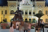 Statue of Ho Chi Minh in Front of the Hotel de Ville at Night