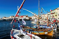 """Europe, France, Var, Saint-Tropez. Traditional fishing boat, named """"""""pointu"""""""" in the old port during the Latina sails."""