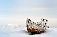 Icebound Ship stranded in the ice at Spitsbergen (Svalbard).